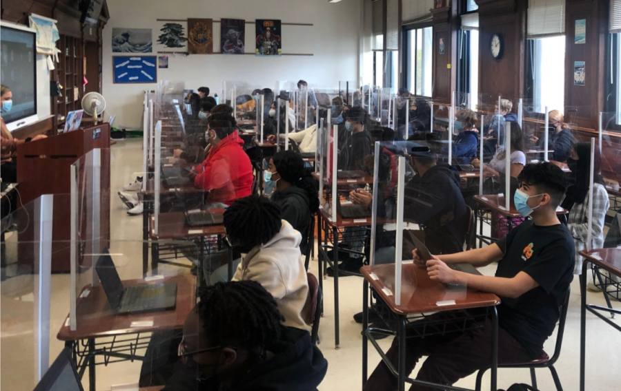 Thanks to new CDC rules and plexiglass shields, student desks have been moved closer together permitting five-day-a-week learning. While the virtual model is still offered, about 75 percent of the student body returned to normal classes.